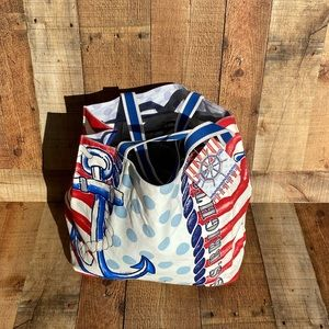 NWT Brighton Nautical Beach Bag Tote Satchel